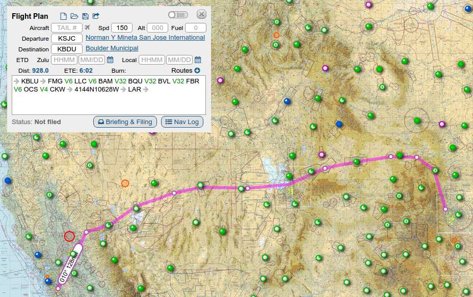 From San Jose to Boulder, low altitude route. Basically following I-80 into Colorado.